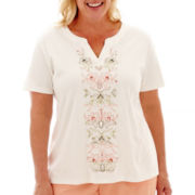 Alfred Dunner® Key Largo Short-Sleeve Floral Embroidered-Center Top - Plus