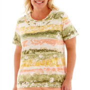 Alfred Dunner® Key Largo Short-Sleeve Abstract-Striped Top - Plus