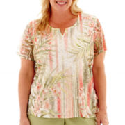 Alfred Dunner® Key Largo Short-Sleeve Lace Tropical Vertical-Striped Top - Plus
