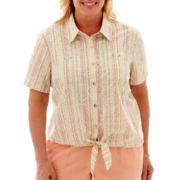 Alfred Dunner® Key Largo Short-Sleeve Tie-Front Blouse - Plus