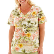 Alfred Dunner® Key Largo Short-Sleeve Tropical Floral Top - Plus