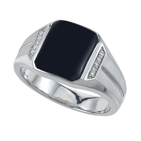 Mens Diamond Accent Genuine Emerald Black Onyx
