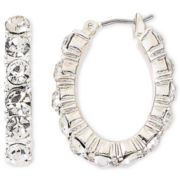Monet® Silver-Tone Crystal Oval Hoop Earrings