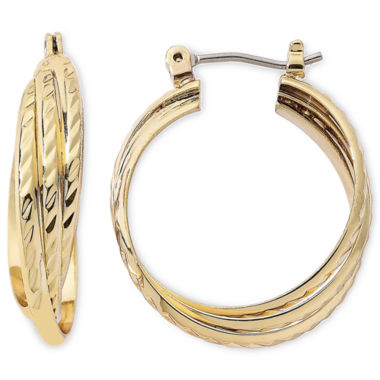 jcpenney.com | Monet® Gold-Tone Triple Twist Hoop Earrings