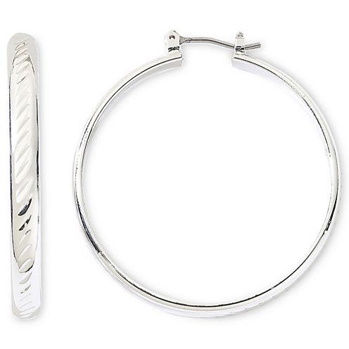 Monet® Silver-Tone Large Hoop Earrings