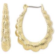 Monet® Gold-Tone Scalloped Hoop Earrings