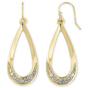 Liz Claiborne Gold-Tone & Crystal Teardrop Earrings