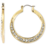 Liz Claiborne Gold-Tone & Crystal Hoop Earrings