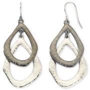 Liz Claiborne Silver-Tone & Hematite Double-Drop Earrings