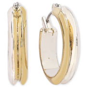 Liz Claiborne Two-Tone Hoop Earrings