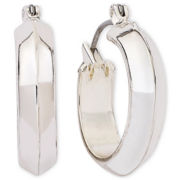 Liz Claiborne Silver-Tone Hoop Earrings