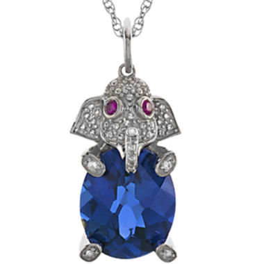 jcpenney.com | Simulated Blue Sapphire & Lab-Created White Sapphire Elephant Pendant Necklace