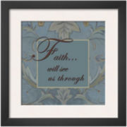 Art.com Tapestry Flowers: Faith Framed Print Wall Art