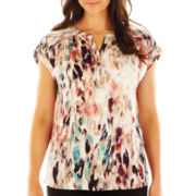 Liz Claiborne Extended-Shoulder Watercolor Tee