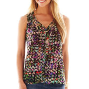 Liz Claiborne Sleeveless Dot Blouse with Cami - Tall
