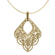 14K Yellow Gold Scalloped Mesh Pendant Necklace
