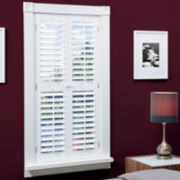 Faux-Wood Plantation Shutters with Mid-Rail - 2 Panels