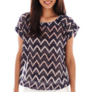 a.n.a® Tab-Sleeve Woven Banded-Bottom Top - Petite