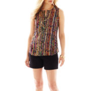 Liz Claiborne Button-Front Blouse with Cami or Twill Shorts - Petite