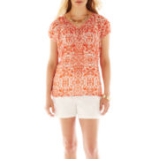 Liz Claiborne Split-Neck Blouse with Cami or Twill Shorts - Petite