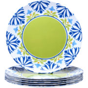 Mediterranean Set of 6 Melamine Dinner Plates