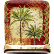 Sunset Palm Set of 6 Melamine Dinner Plates