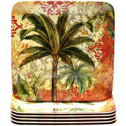 Sunset Palm Set of 6 Melamine Salad Plates