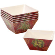 Sunset Palm Set of 6 Melamine Ice Cream Bowls