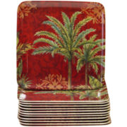 Sunset Palm Set of 12 Melamine Appetizer Plates