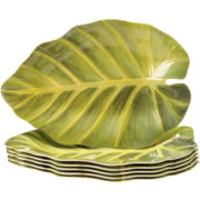 Sunset Palm Set of 6 Melamine Leaf Plates