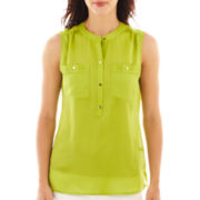 Liz Claiborne Sleeveless Pintucked Blouse