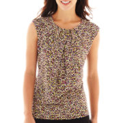 Liz Claiborne Short-Sleeve Pleat-Neck Print Top