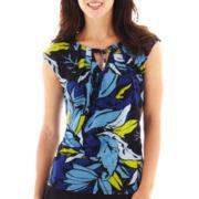 Liz Claiborne® Short-Sleeve Print Tie-Neck Top