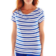 Lark Lane® Short-Sleeve Draped Boatneck Striped Top