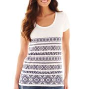 jcp™ Short-Sleeve Embroidered Striped Tee