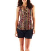 Liz Claiborne Button-Front Blouse with Cami or Denim Shorts