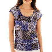 Liz Claiborne® Short-Sleeve Mesh Tee