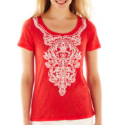 St. John's Bay® Short-Sleeve Burnout Print Tee - Petite