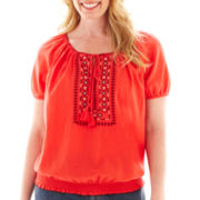 St. John's Bay® Short-Sleeve Embroidered Peasant Top - Tall