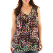 Liz Claiborne Sleeveless Dot Blouse with Cami - Plus