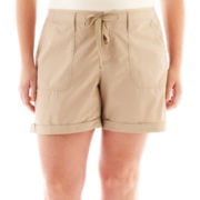 jcp™ Drawstring Poplin Shorts - Plus