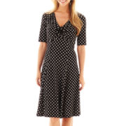 Robbe Bee® 3/4-Sleeve V-Neck Polka Dot Dress