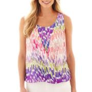 Liz Claiborne® Sleeveless Draped-Front Blouse - Petite