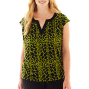 Worthington® Short-Sleeve Split-Neck Top