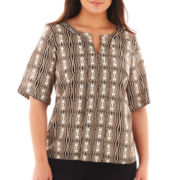 Worthington® Tab-Sleeve Hardware Blouse