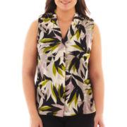 Worthington® Sleeveless Button-Front Woven Top