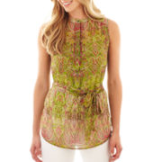 Liz Claiborne Sleeveless Paisley Blouse with Cami - Tall