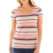 Liz Claiborne® Short-Sleeve Cabana Striped Tee – Tall
