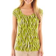 Liz Claiborne® Short-Sleeve Keyhole Tee – Tall