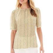 Liz Claiborne® Elbow-Sleeve Smocked Keyhole Blouse - Petite
